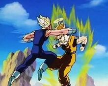 Goku and Majin Vegeta begin thier epic battle