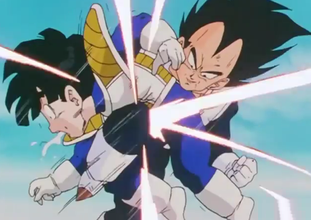 File:Vegeta kneed gohan in the stomach makeing the young haff saiyan coguh up spit.png