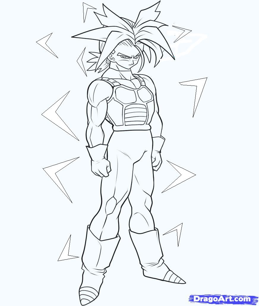 image how to draw super saiyan trunks step 6jpg dragon ball series wiki fandom powered by wikia - Super Saiyan Gohan Coloring Pages