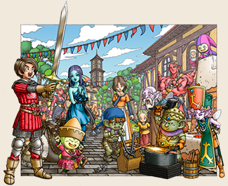 File:DQX - Hero showing his sword off to townfolk and tourists.png