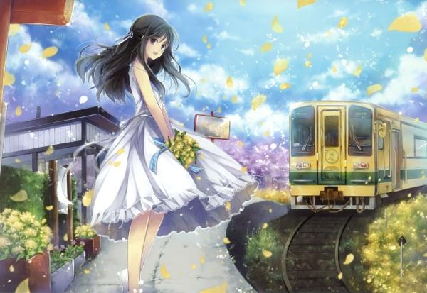 File:Dress flowers trains long hair outdoors black eyes open mouth flower petals anime girls black hair h wallpaperbeautiful 54.jpg