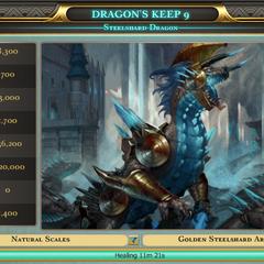 Steelshard dragon with golden armor