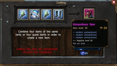 Crafting diff type Show Stats