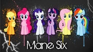 This is Fluttershy and the other main six ponies. Fluttershy is the one near the end next to rainbow dash.