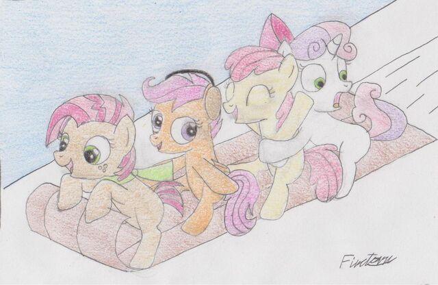 File:0 227117 UNOPT safe scootaloo apple bloom sweetie belle pony cutie mark crusaders foal smile babs seed happy headphones 50ea6d15a4c72d93860002d4 jpeg.jpg