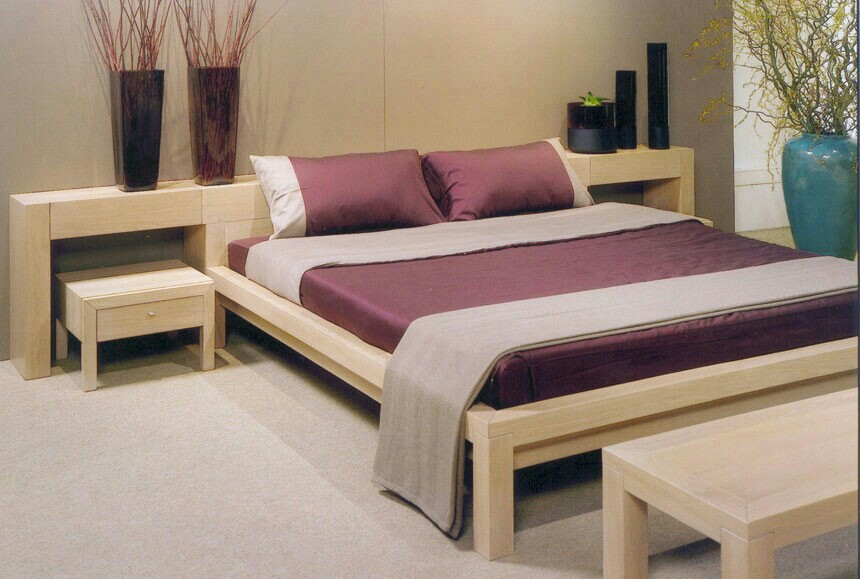 Image simple wooden double bed in contemporary bedroom Simple wooden bed designs