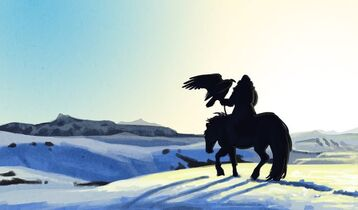 640x376 8960 Austringer 2d fantasy sketchbook snow desert nomad falconer rider picture image digital art