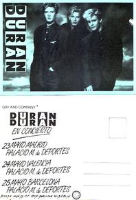 Duran duran spanish promo tour card