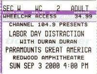 Ticket duran duran 3 sep 2000 great america