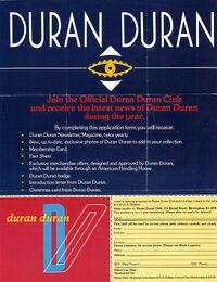 ORDER FORM 1983 DURAN DURAN WIKIPEDIA FAN CLUB