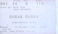 Duran duran ticket 21 december 1998