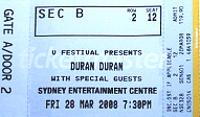 Sydney ticket 200 duran duran