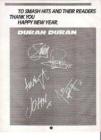 DURAN DURAN Happy Xmas (printed autographs) UK magazine ADVERT wikipedia smash hits