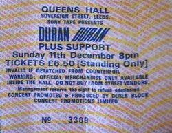 Queens Hall, Leeds, UK. ticket stub wikipedia duran duran 1983 concert