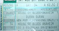 Duran duran ticket 2001