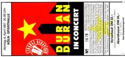6 april 1987 duran duran ticket
