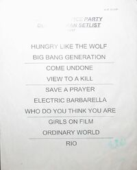DURAN DURAN VH1 Ultimate Office Party Setlist wikipedia 1997