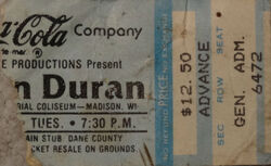 Dane Co. Coliseum, Madison, Wisconsin, USA ticket stub wikipedia duran duran