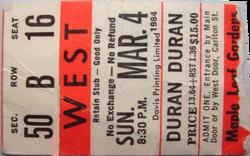 Ticket duran duran toronto 4 march 1984