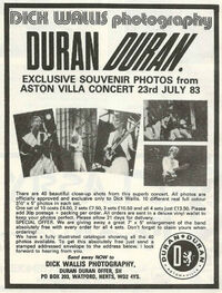 Dick wallis photography wikipedia duran duran aston villa mencap paper gods album advert