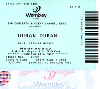 Ticket duran duran wembley ticket 14 april 200