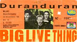 Ticket duran duran milan 12 december 1988