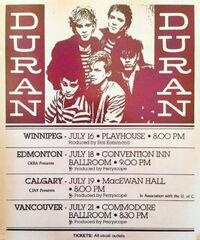 Winnipeg wikipedia duran duran canada 1982 tour poster rare