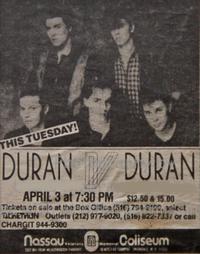 Uniondale NY USA Nassau Coliseum duran duran advert wikipedia 1984 a