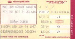 DURAN DURAN CONCERT TICKET MADISON SQUARE GARDEN 1987 2