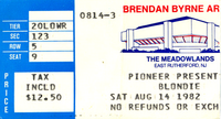 Blondie 14 aug 82 duran duran ticket