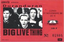 DURAN DURAN a ticket stub - Paris Bercy 1988