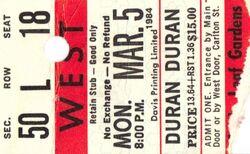Duran Duran - 03-05-84 ticket Maple Leaf Gardens, Toronto, Ontario, Canada