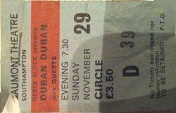 Southampton (UK), Gaumont ticket stub wikipedia duran duran 29 november 1981 tour