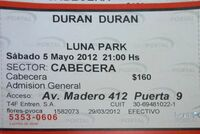 Ticket luna 5 may Luna Park, Buenos Aires (Argentina wikipedia duran duran