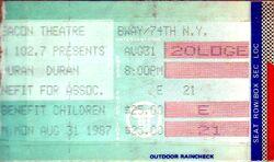 DURAN DURAN TICKET NEW YORK BEACON THEATRE 1987