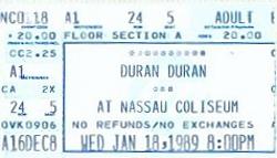 Duran duran ticket Secret Caravan Club Tour 1988,and Big Electric Thing 1989