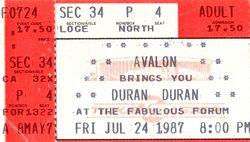 Duran duran ticket The Great Western Forum, Inglewood (Los Angeles), California
