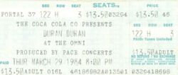 Ticket stub atlanta ga the omni wikipedia duran duran 1984