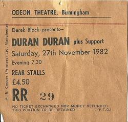 Birmingham odeon wikipedia ticket stub duran duran new street B1 THEATRE