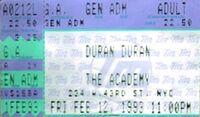 Duran duran ticket 12 feb 1993 An Acoustic Evening with duran Duran 1993