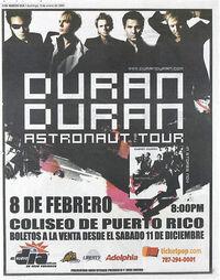Duran duran poster Coliseo de Puerto José Miguel Agrelot, Hato Rey, Puerto Rico.