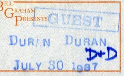 Ticket 30 july 1987 sacramento duran duran