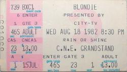 Blondie ticket C.N.E. TORONTO duran duran 18 august 1982