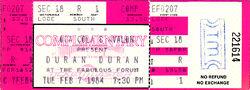 TICKET DURAN DURAN 1984-02-07 ticket