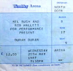 Ticket duran duran wembley 20 may 1987