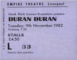 Ticket duran duran 9 november 1982 liverpool