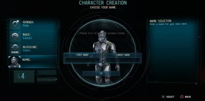 Character Creation Naming.