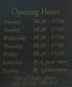 Coker & Sons Opening Times Sign (25 February 2016 Part 1)