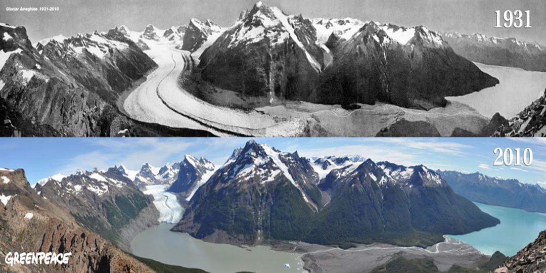 Glaciares derretidos antes y despues de adelgazar