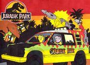 Jurassic ED ED EDD N EDDY driving the Jurassic Park Tour Vehicle